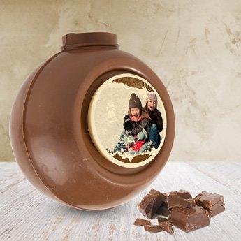 chocolade kerstbal met foto